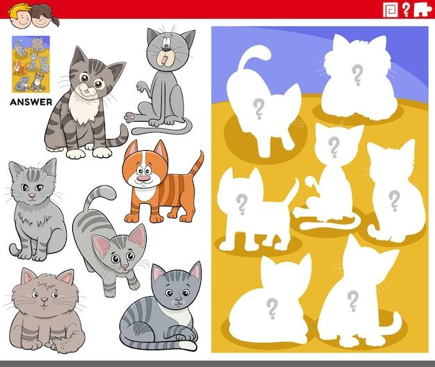 Bijpassende vormen spel met katten stripfiguren