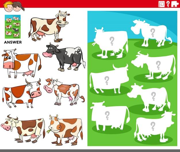 Bijpassende vormen spel met koeien stripfiguren