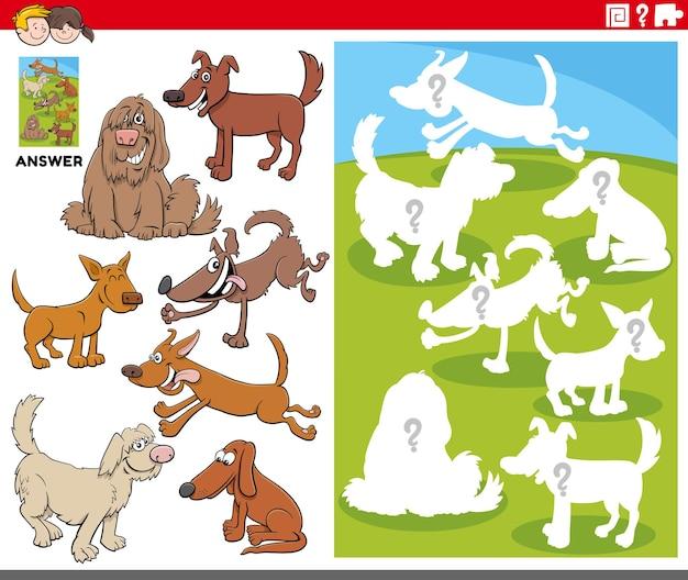 Bijpassende vormen spel met stripfiguren honden
