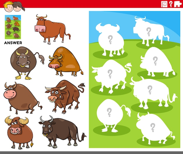Bijpassende vormen spel met stripfiguren stier