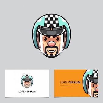 Biker hoofd mascotte en visitekaartjes
