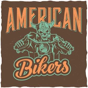 Biker labelontwerp met illustratie van skelet rijden op motor