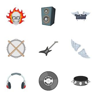 Biker logo iconen set, cartoon stijl