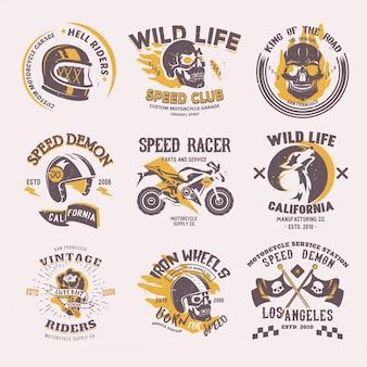 Biker logo rijder motorfiets of fiets en snelheid motorrijder racer op logo motor embleem