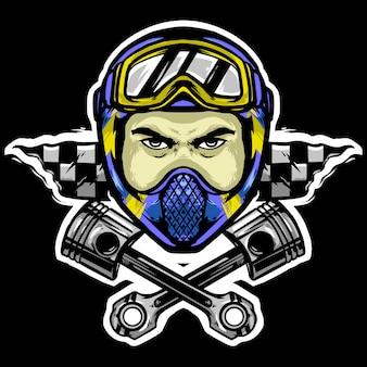 Biker motocross hoofd met helm