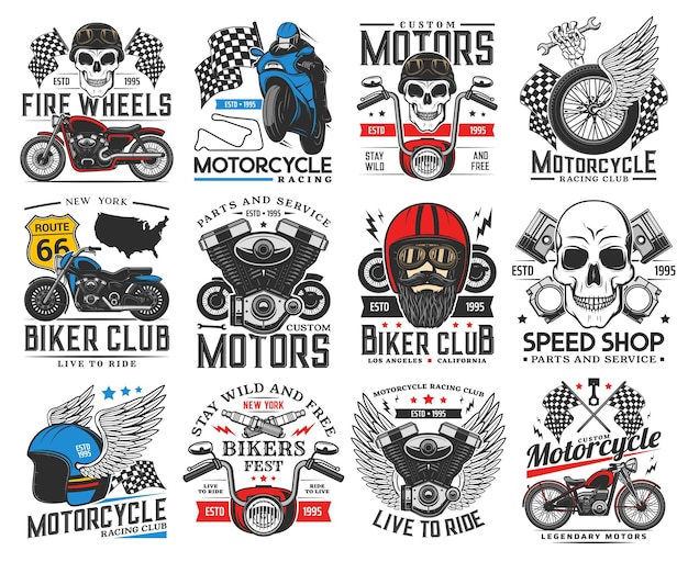 Biker, motorfiets en race pictogrammen. motorsportclub, restauratie en reparatie van aangepaste fietsen garageservice, winkel met reserveonderdelen, retro vectorembleem voor fietsersfestival motormotor, schedel en vleugels