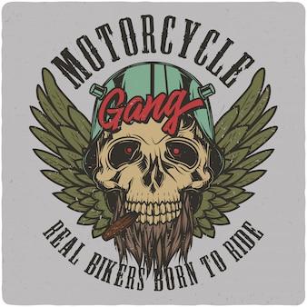 Biker's schedel in een helm