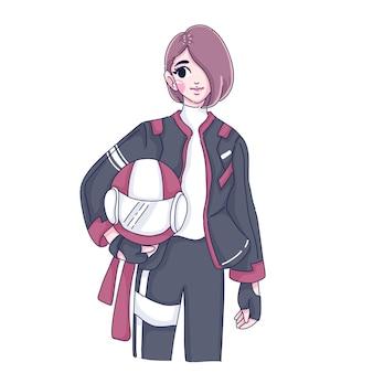 Biker vrouw illustratie