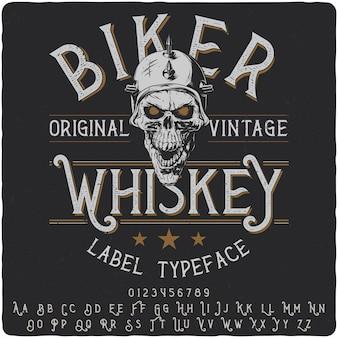 Biker whiskey label lettertype