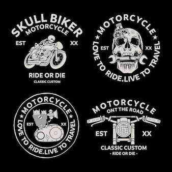 Bikers badges emblemen vector iconen. klassiek, logo.