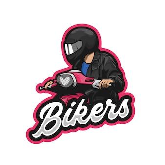 Bikers scooter illustratie premie