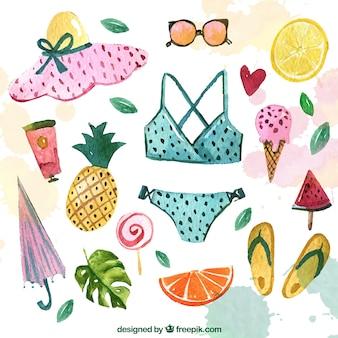 Bikini collectie en aquarel zomer accessoires