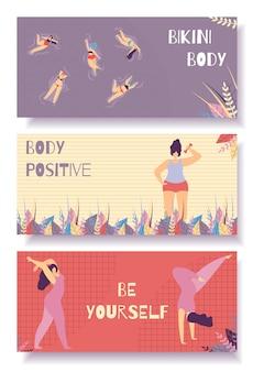 Bikini lichaam positieve platte banner instellen bloemmotief