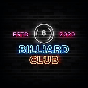 Biljart club neonreclames neon design style