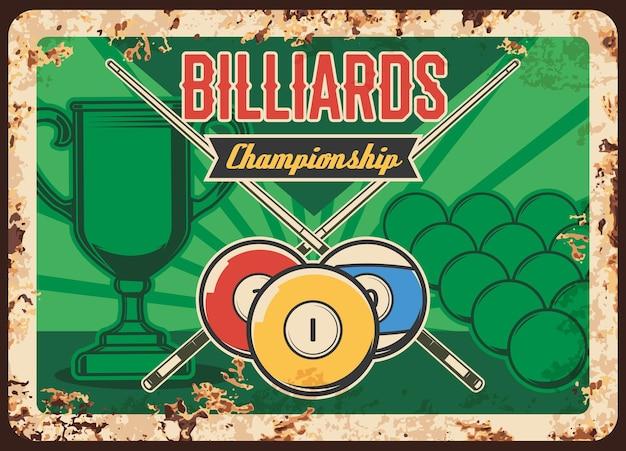 Biljart kampioenschap roestige metalen plaat ballen gekruist signalen en winnaar beker