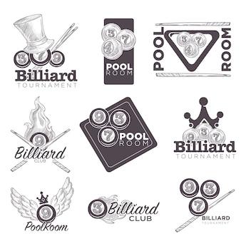 Biljart of poolroom logo retro schets voor kampioenschap