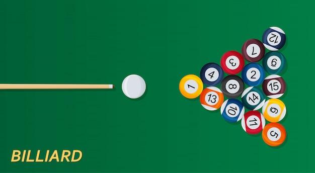 Biljart of snooker achtergrond. goed ontwerpsjabloon voor banner, kaart, flyer. illustratie.