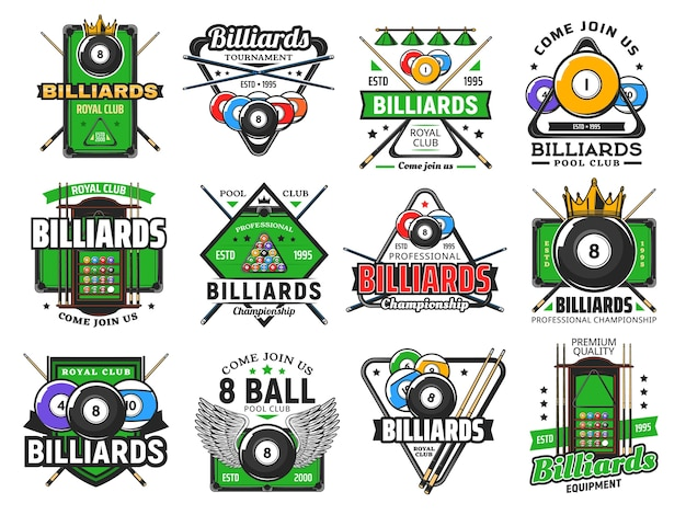 Biljart poolspel, snookersportclubpictogrammen, biljartkampioenschap en toernooi. biljart koninklijke club en pool snooker tekenen van keuen, 8 acht bal met vleugel, driehoek rek en groene tafel
