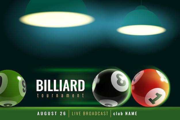 Biljart poster. snookertoernooi met 3d biljartballen en groen tafel- en lamplicht. professioneel zwembad, sportcompetitie, aankondigingssjabloon voor vectorflyer voor teamkampioenschappen