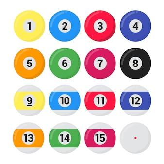Biljart snooker of pool ballen vlakke stijl ontwerp vector illustratie set geïsoleerde witte background