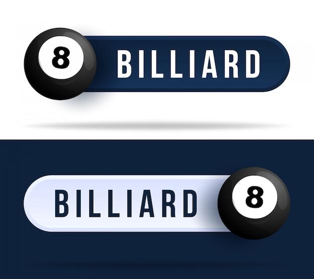Biljart tuimelschakelaar knoppen. illustratie met basketbal bal en web-knop met tekst