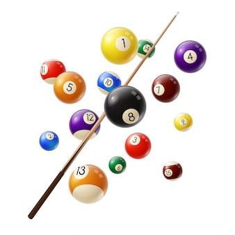 Biljartballen en cue 3d realistisch