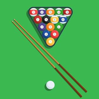 Biljartballen en richtsnoer op groene achtergrond