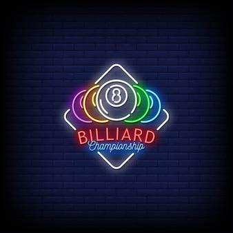 Biljartkampioenschap logo neon signs style text