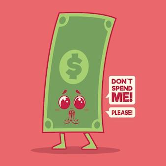 Bill karakter. geld, financiën, besparingen ontwerpconcept