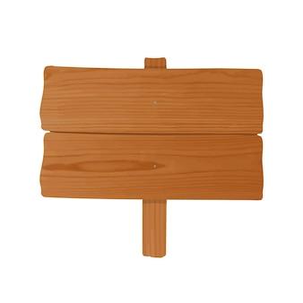 Billboard gemaakt van paar ongehouwen houten planken en paal aan elkaar genageld. leeg bord of wegwijzer geïsoleerd op een witte achtergrond. cartoon decoratief ontwerpelement. gekleurde vectorillustratie.