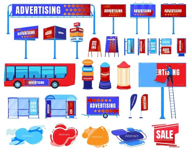 Billboard reclame vector illustratie set. cartoon platte bedrijf geadverteerd board sjabloon marketing promotie-advertentie op straat straatbus, adverteerder