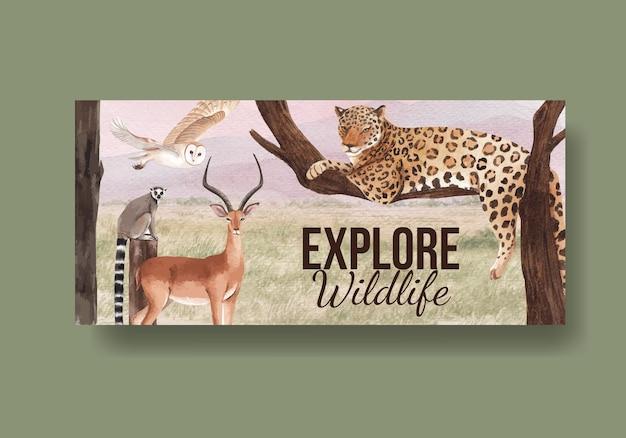 Billboard sjabloon met savanne wildlife concept aquarel illustratie