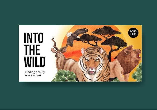 Billboard sjabloon met savanne wildlife concept aquarel illustratie Premium Vector