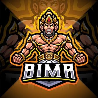 Bima esport mascotte logo ontwerp