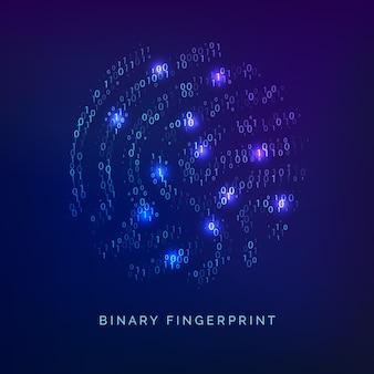 Binaire code vingerafdruk. biometrische id. digitale sleutel voor software-identificatie. vingerafdrukscanner in futuristisch technologiesysteem. vector illustratie