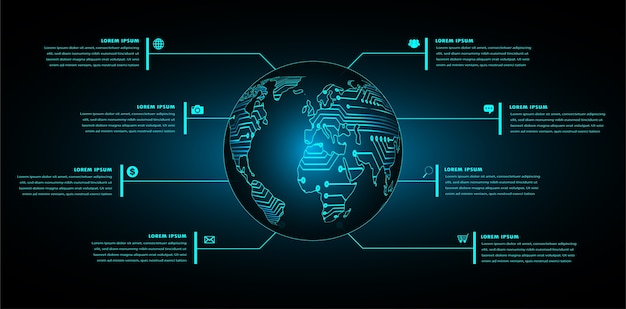 Binaire printplaat toekomstige technologie, blauwe wereld hud cyber veiligheidsconcept achtergrond,