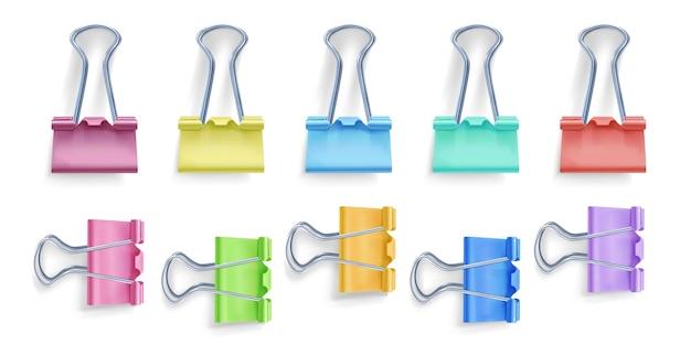 Bindmiddel clip illustratie van 3d-realistische metalen kleur foldover of foldback clip voor papier