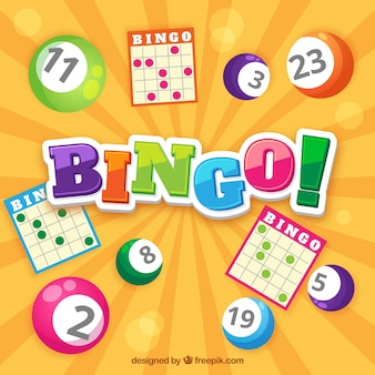 Bingo achtergrond met stembiljetten en gekleurde ballen
