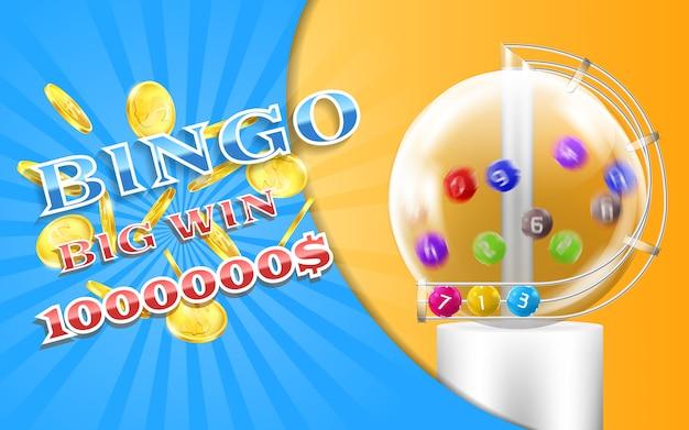 Bingo spelbanner met realistische gouden muntstukken, met loterijmachine en kleurrijke ballen