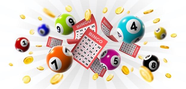 Bingo winnaar achtergrond met loten, ballen en gouden munten. realistische keno gokspel win poster met kaarten burs vector concept
