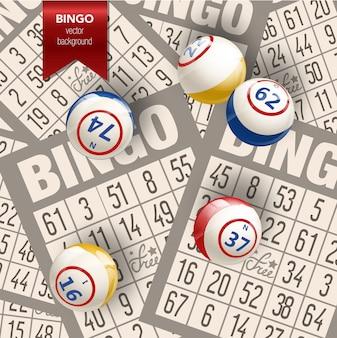 Bingotochtergrond met ballen en kaarten