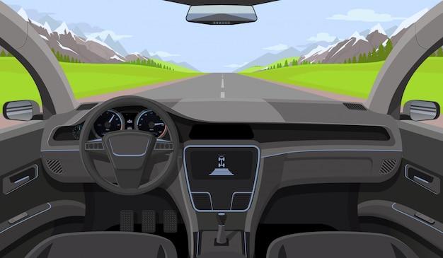 Binnen auto bestuurder weergave met roer