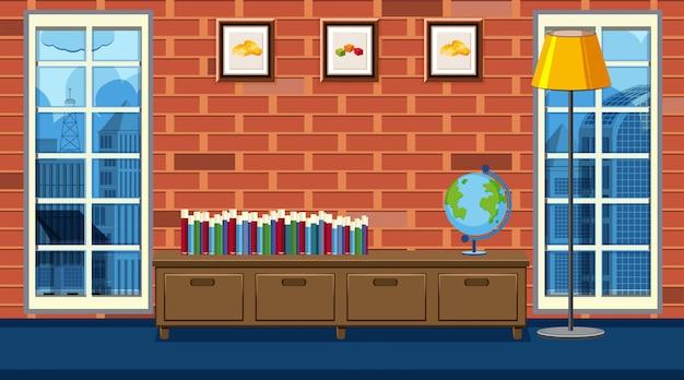 Binnen een livng kamer huis met boeken