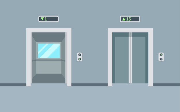 Binnen en buiten lege liften in het gebouw. liftdeuren, open en gesloten. illustratie in een trendy vlakke stijl.