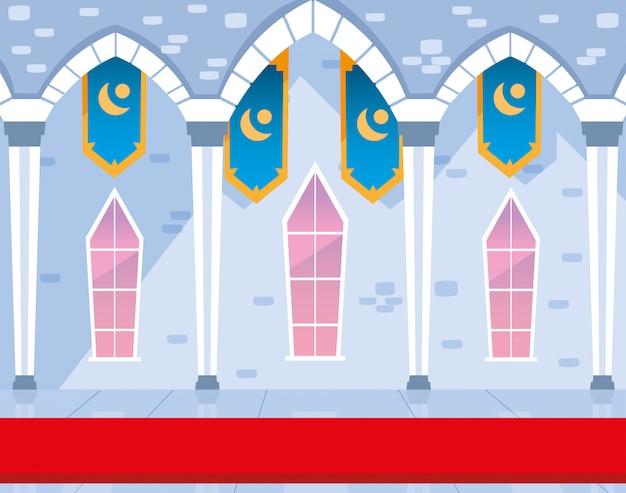 Binnen kasteel gebouw sprookje met decoratie