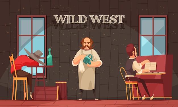 Binnen mening van het wilde westen salonruimte met barman en pianist