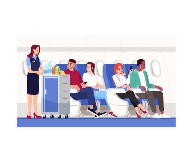 Binnen vliegtuig semi platte vectorillustratie. stewardes bieden drankjes aan. econom klasse voor reizigers. passagiers aan boord van het vliegtuig. luchtvaartdiensten 2d-stripfiguren voor commercieel gebruik