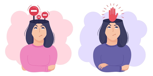 Binnen vrouw hoofd concept. let op beperkingen en interne grenzen of controle en zelfdiscipline metafoor. stop tekenen en rode hand.