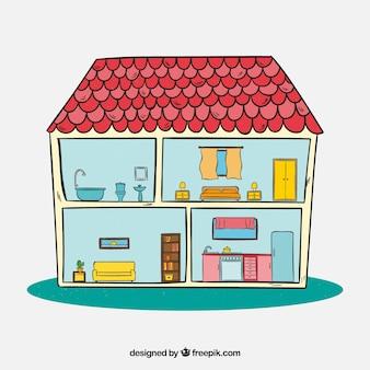 Binnenaanzicht van handgetrokken huis