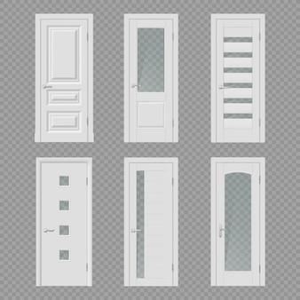 Binnendeur en kamerdeuropening realistische mockups